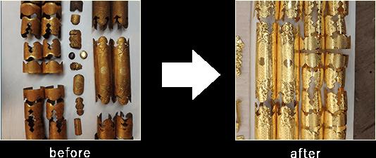 お仏壇の完全修復 金具鍍金(メッキ)加工作業のビフォーアフター