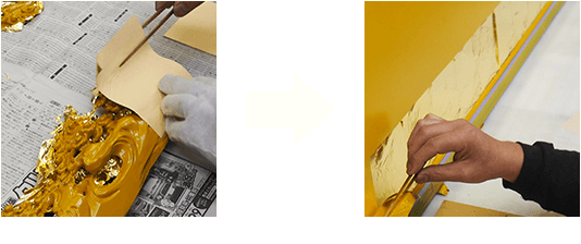 お仏壇の完全修復 金箔作業のビフォーアフター